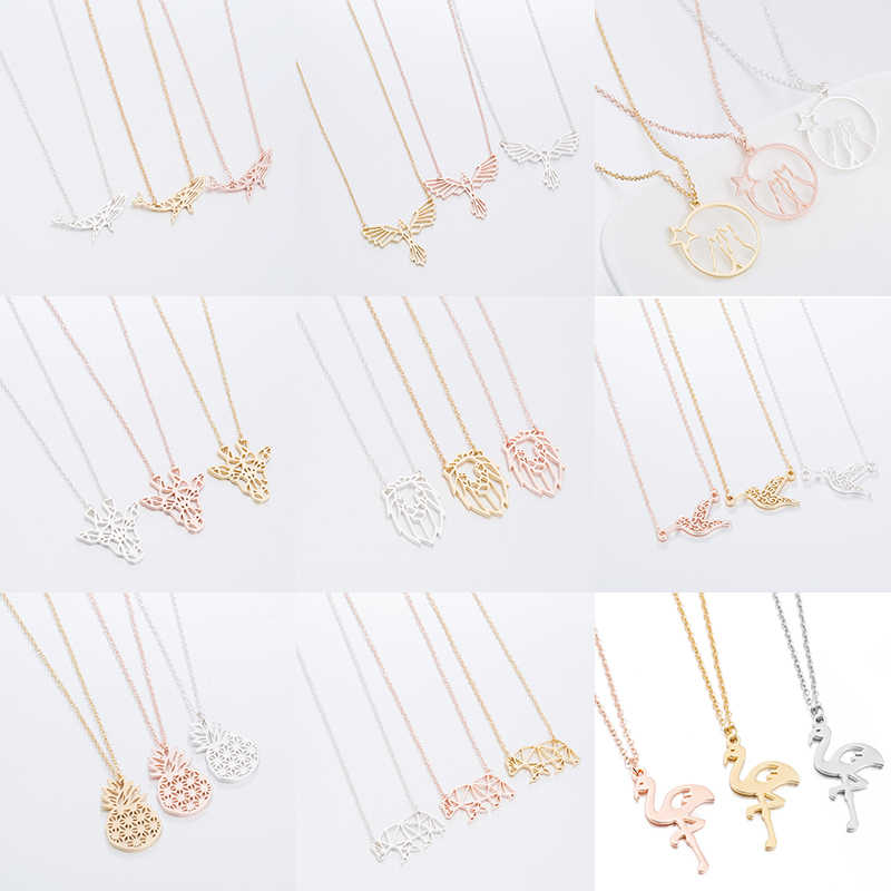 Fashion Jewelry Animal Necklaces for Women Girls Stainless Steel Cute pineapple Flamingo Animal Pendant Necklace Accessories