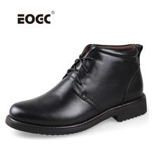 Plus Size men boots super warm genuine natural leather snow Handmade Ankle for autumn and winter shoes