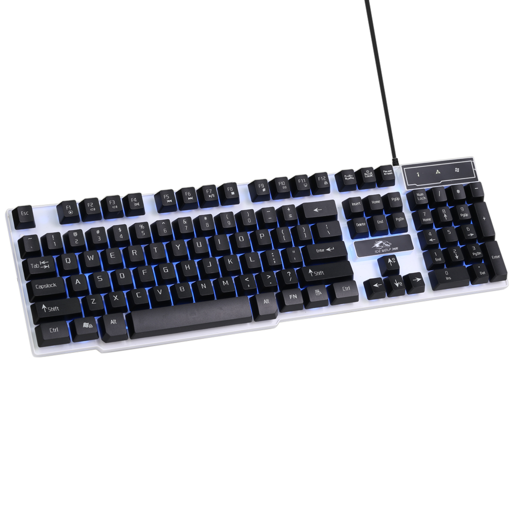 Ice WolfGaming Keyboard LED Backlit Keycaps Multimedia Professional Esport Gaming Qwerty Keyboard USB Wired 104 Keys Ergonomic