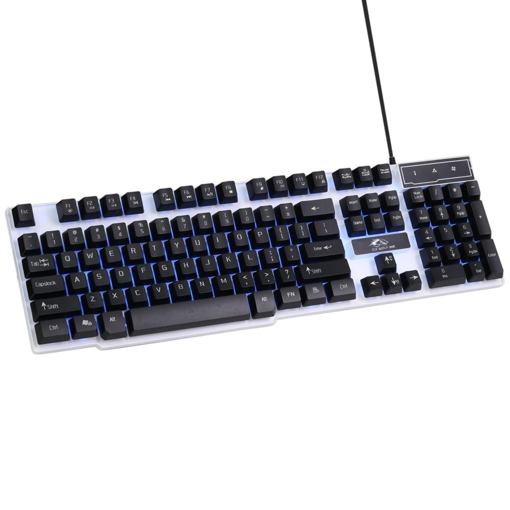 Ice WolfGaming Keyboard LED Backlit Keycaps Multimedia Professional Esport Gaming Qwerty Keyboard USB Wired 104 Keys Ergonomic