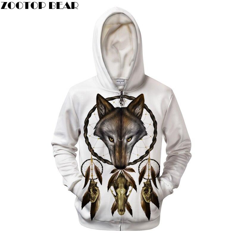 Original Style Wolf By ALI Artist Unisex Zip Hoodie Thick Warm Male 3D Print Sweatshirts Coat Men Casual Streetwear Clothes 2018