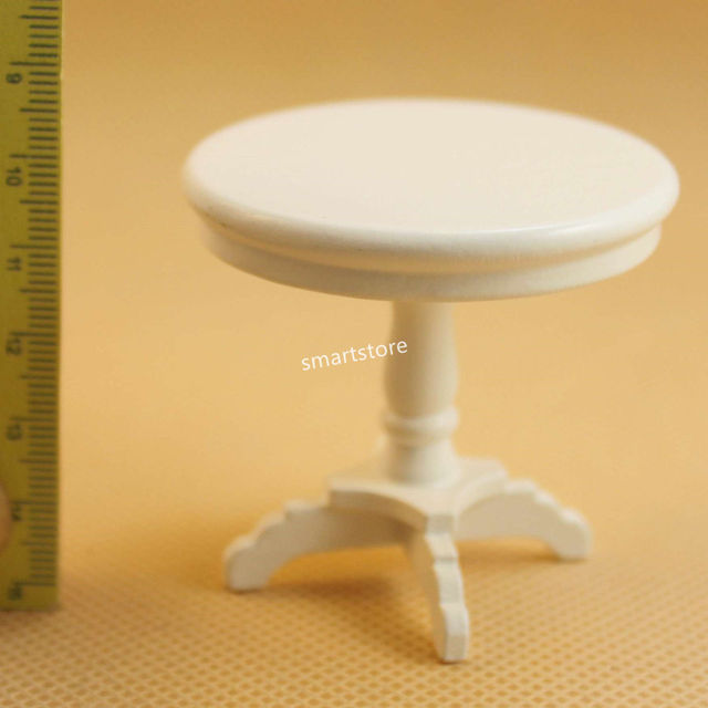 112 Dollhouse Miniature Small White Round Pedestal Dining Table