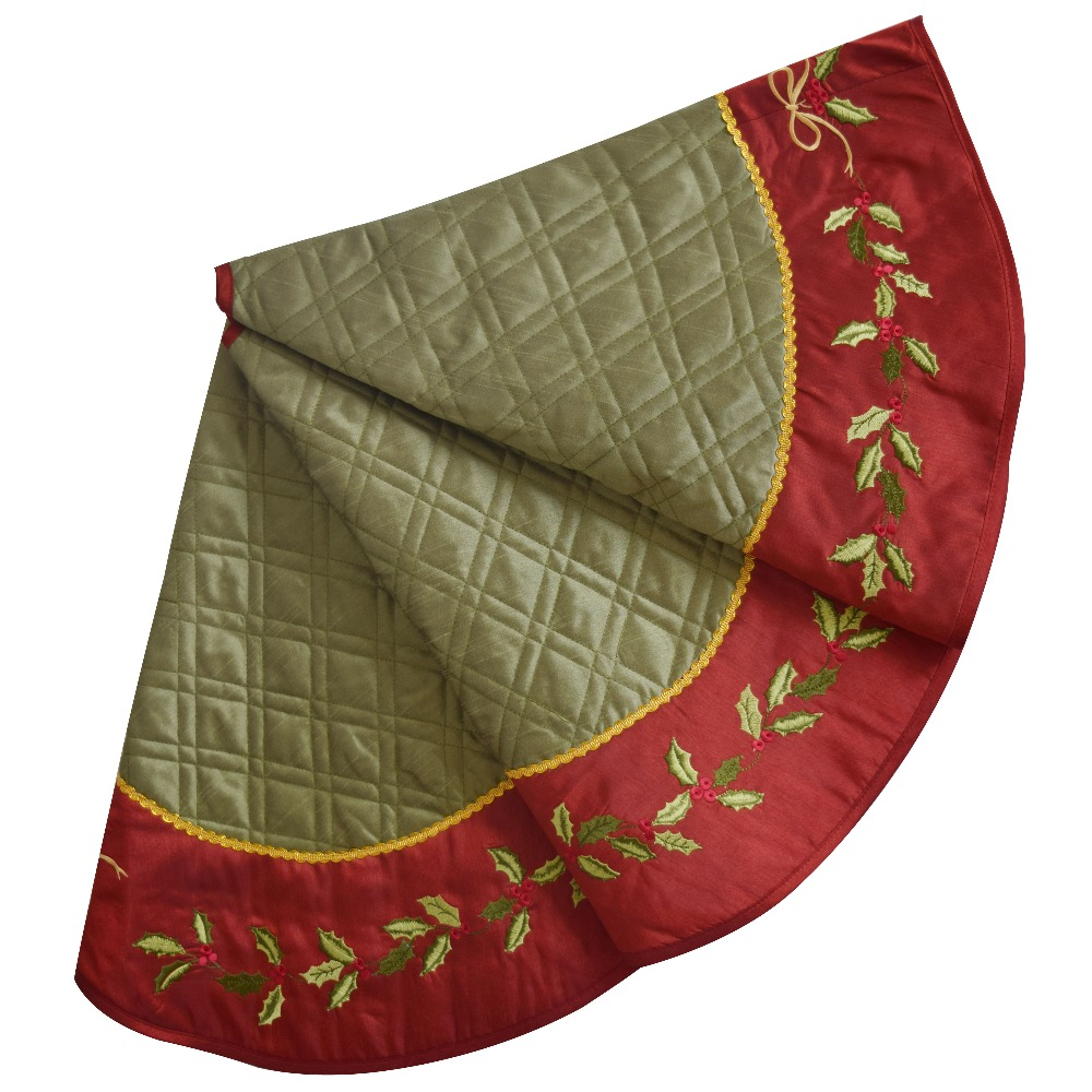 "Linen Christmas Tree Skirt: Sorrento 50"" Linen Slub Look Diamond Check Quilted"