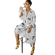 купить Newspaper Print Long Sleeve Shirt Dress Women Turn-Down Collar Button Up Blouse Dress Ladies Streetwear Oversized Shirt Dress по цене 1025.82 рублей