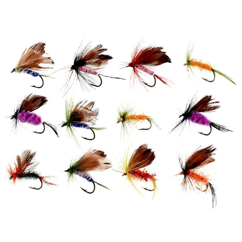 12Pcs/Lots Various Dry Fly Hooks Baits Tackle Tool Fishing Trout Flies Fish Hook Lures Various Fishing Baits Multicolor