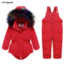 Kids Snowsuits Winter Baby Girl Down Jackets Overalls True Fur Hooded Warm Children Outfit 1 2 3 year Infant Winter Clothing