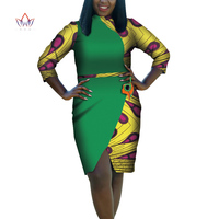 2019 Africa Dress For Women African Wax Print Dresses Dashiki Plus Size Africa Style Clothing for Women Office Dress WY2032