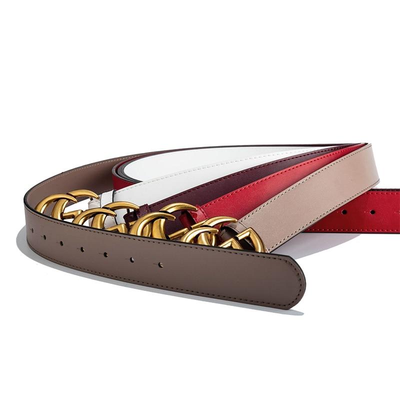 Luxury Design Letter G   Belt   For Women Lady Brass Buckle Genuine Leather Double G   Belts   Elegant   Belt   Female Cowskin Strap