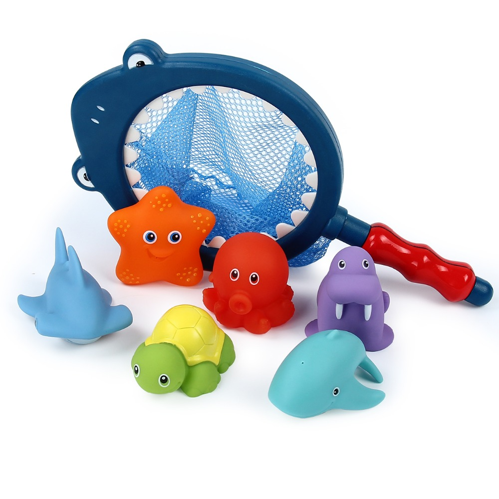 Bath Toy With Fishing Net Floating Animals Water Toy Soft Rubber Float Squeeze Sound Squeaky Bathing Toy For Baby Bath Toys