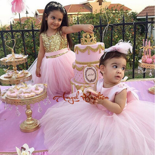 2017 Pretty Pink flower girl dresses gold sequins backless baby girls princess dress with bow first birthday prom party outfit white flower girl first communion dress mint pink red little girls dresses wedding first birthday outfit girl gold lace dress