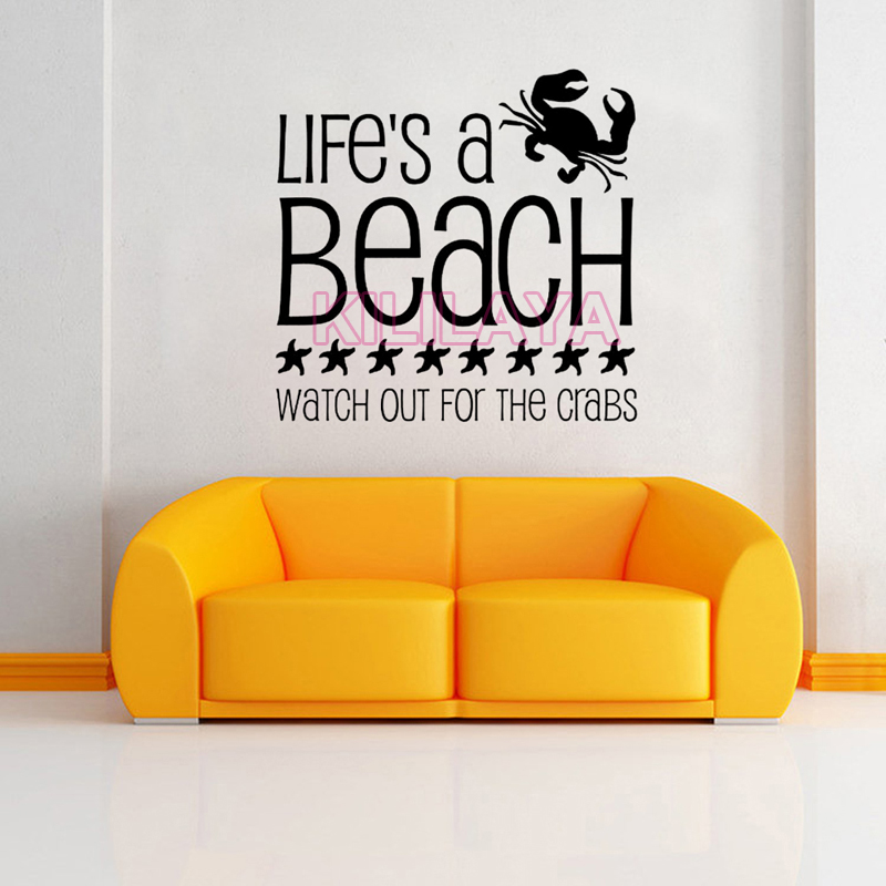 Stickers Life\'s A Beach Watch Out For Crabs Vinyl Wall Sticker ...