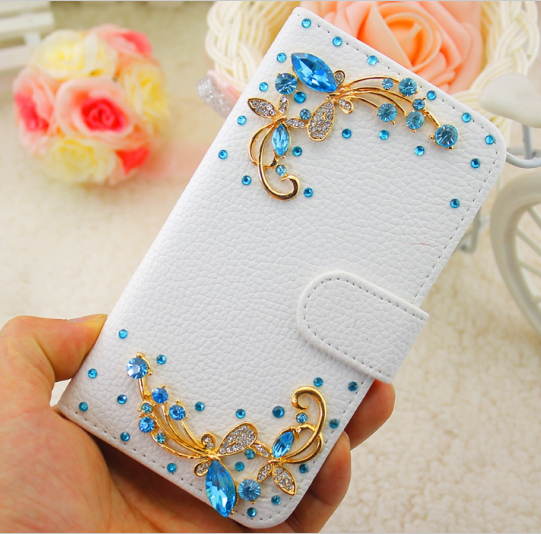 Bling Blue Rhinestone Elegent Butterfly White PU Embossed Leather Case Cover for iPhone 5 6 7 for Samsung Phone Case