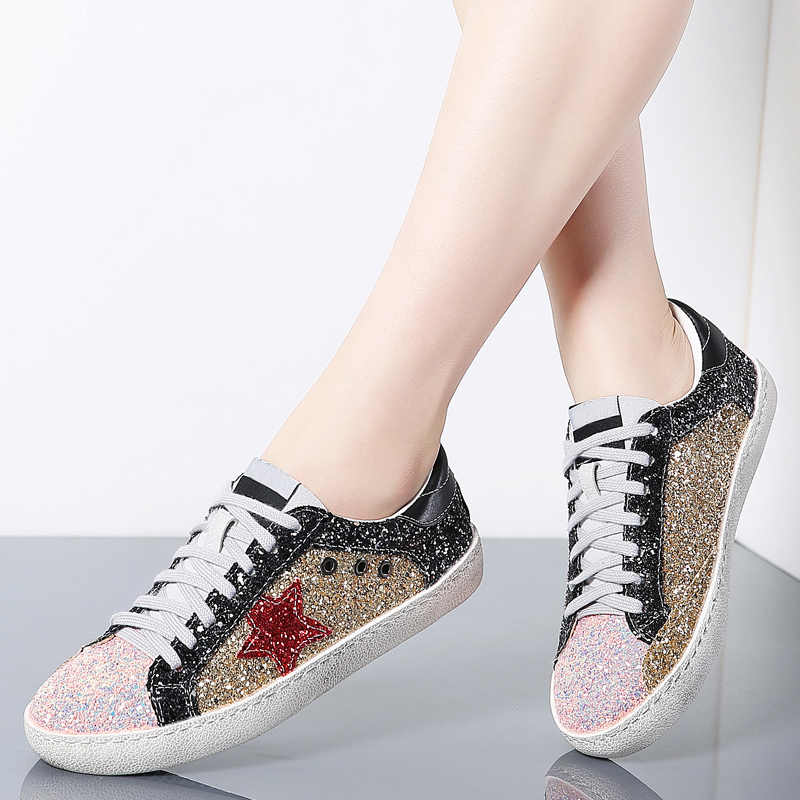 Women Shoes Leather Do Old Dirty Women Flat Sequins Star Golden Glitter  Trainers Casual Woman Sneakers fb2724c3a730