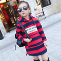 Girls Autumn Winter Plus Velvet Sweatshirts New Korean Children' s Long Hooded Striped Hoodies Kids Fashion Cotton Clothing Hot