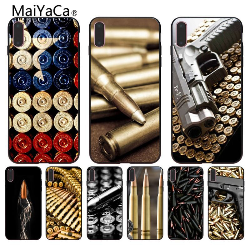 Half-wrapped Case Maiyaca Loose Gold Bullets Gun Bullet Hot Selling Fashion Design Cell Case For Iphone 8 8plus 7 7plus 6 6plus X Se Mobile Cover Curing Cough And Facilitating Expectoration And Relieving Hoarseness