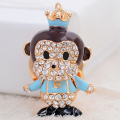 Lovely Fashion Bling Animal Featured Monkey Crystal Rhinestone Keychain Key Chain Purse Handbag Bag Decoration Gift