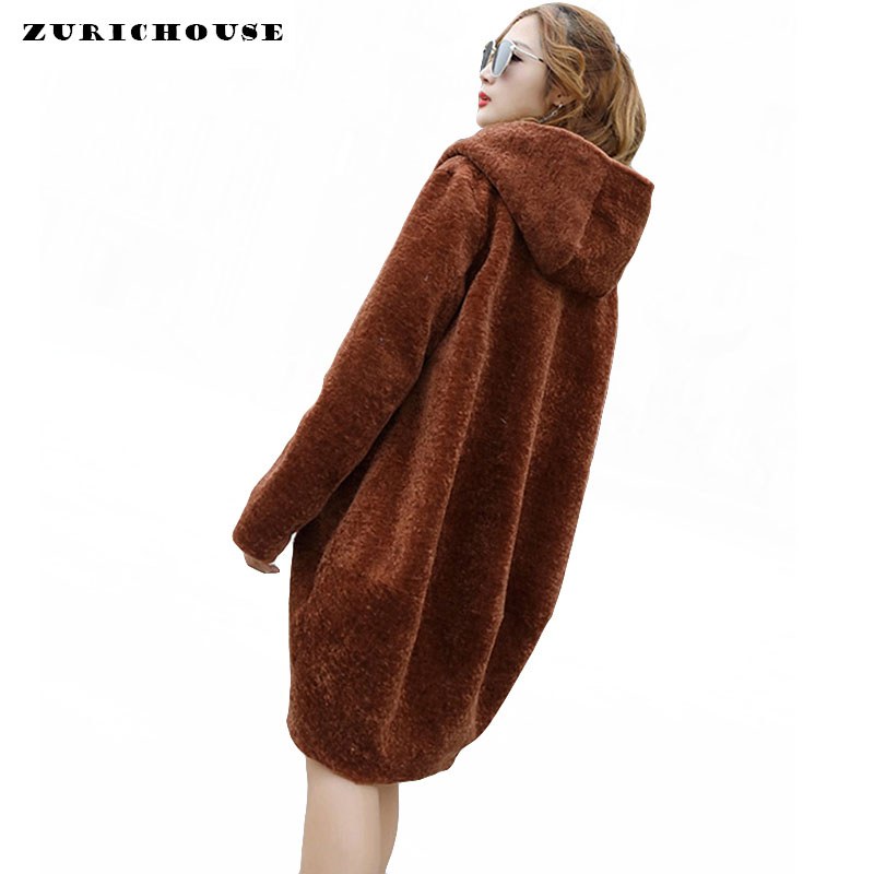 Winter Natural Sheep Shearing Coat Women Plus Size 9XL 2019 New Arrival Real Fur Coat Women Hooded Long Wool Jacket High-Quality