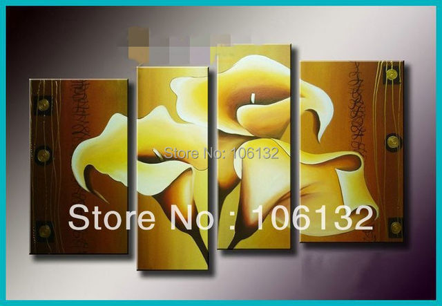 Framed 4 Panel Large High End Astonishing Contemporary Art Yellow ...