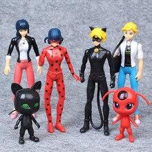 6PCS/Set Ladybug Cat Noir Juguetes Toy Doll Lady Bug Adrien Marinette Plagg Tikk