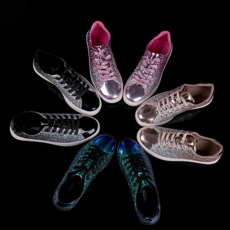 สตรีแฟชั่น Casual ROCK Glitter ประกายรองเท้าผ้าใบผู้หญิง Encrusted Lace Up รองเท้าสีขาว Sole แฟชั่น Street รองเท้าผ้าใบเงา