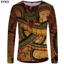KYKU Dragon Ball Z T-shirt Men Long sleeve shirt 3d t Evil Funny T shirts Blood Mens Clothing Dark Clothes