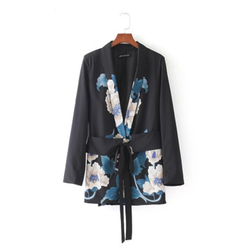 2020 New Fashion Women Sashes Floral Blazer Notched Collar Long Sleeve Coat Vintage Ladies Casual Brand Outerwear