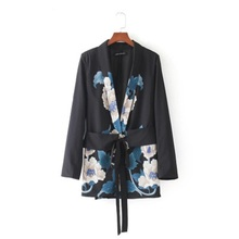 2020 New Fashion Women Sashes Floral Blazer Notched Collar Long Sleeve Coat Vint