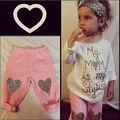 Teste Padrão do coração Da Criança Conjuntos de Roupas Meninas Do Bebê Crianças Camisa Coração Vestido + Leggings Crianças 2 PCS Do Bebê Roupa da menina