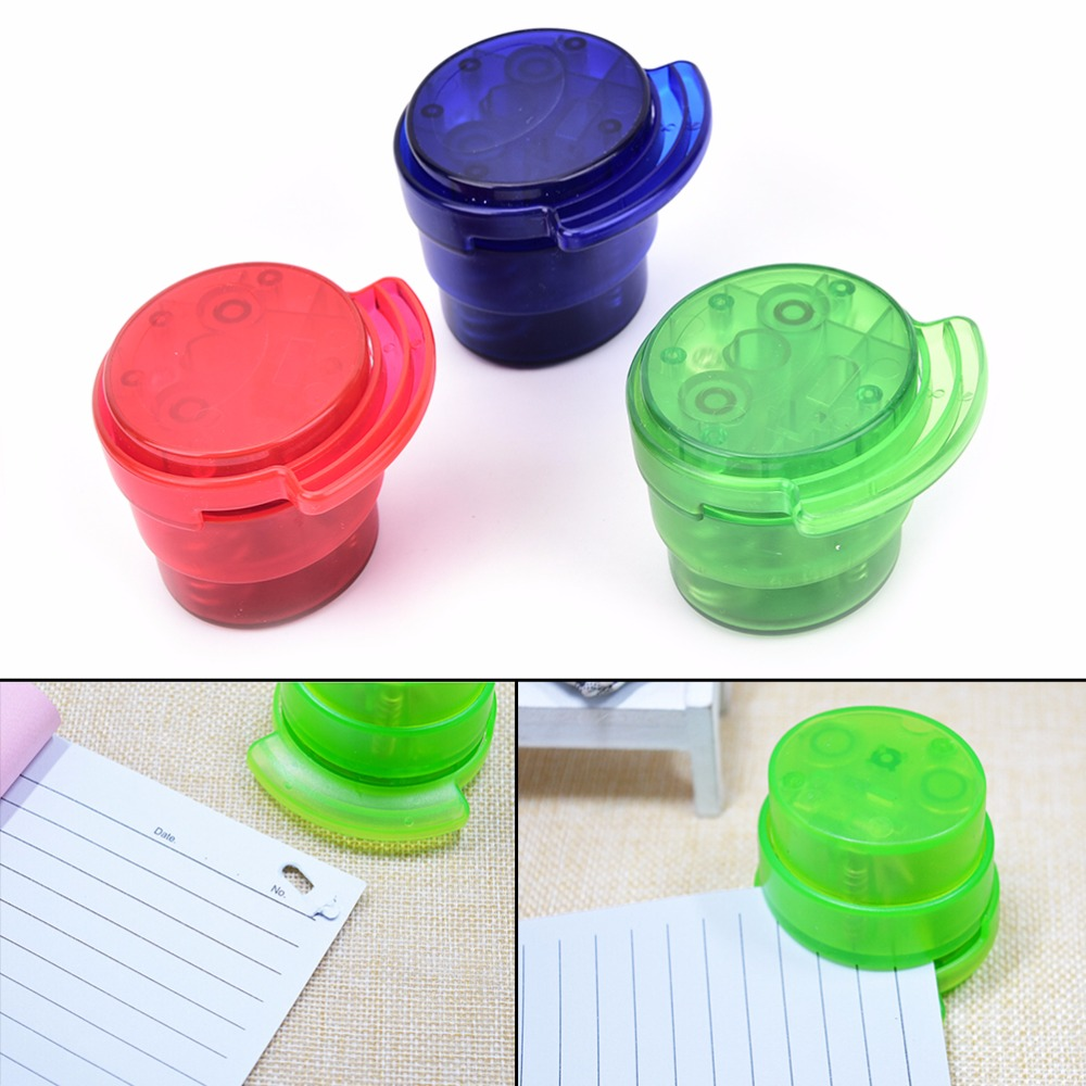 Practical Staple Free Stapler Paper Binding Binder Stapless Stationery Office Student Mini School Home Paperclip Random Color