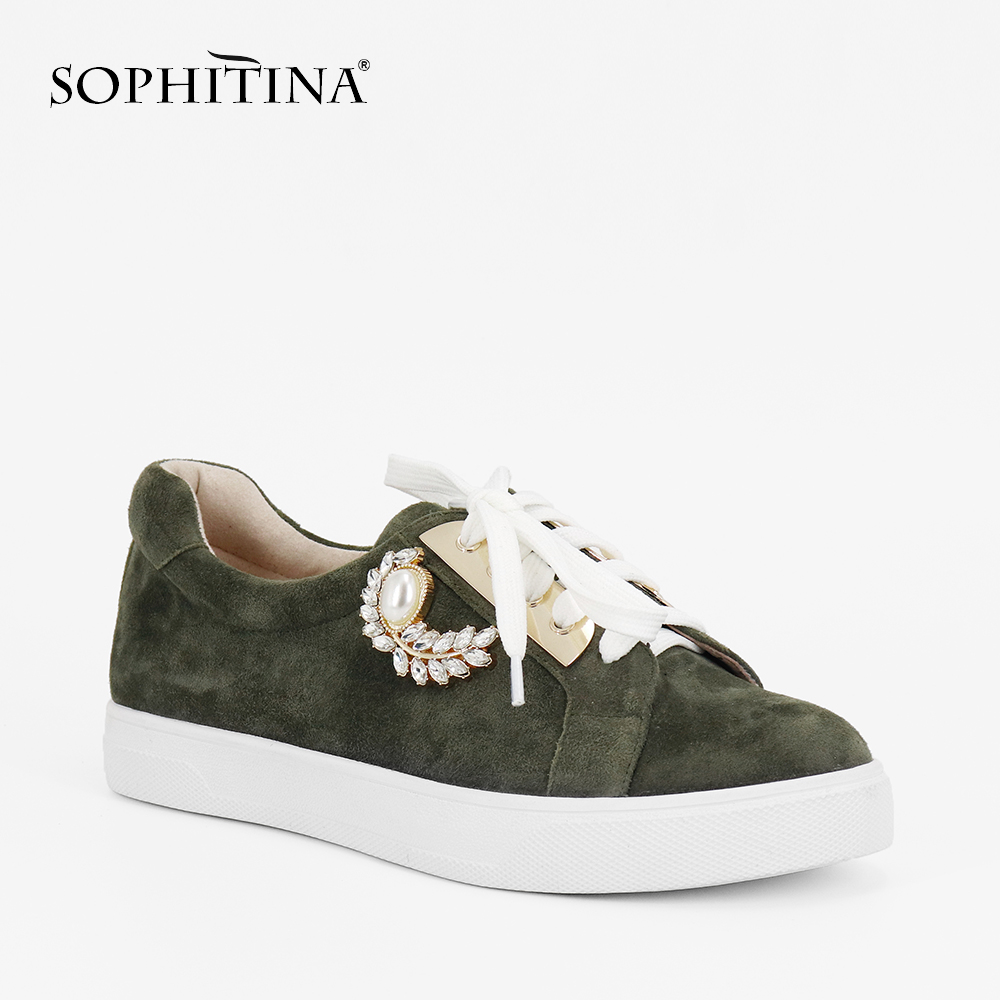 SOPHITINA Luxury Flat 2019 Autumn Fashion Dark Green Casual Girl Daily Shoes Round Toe Lace up Comfortable Leisure Lady Flat P77