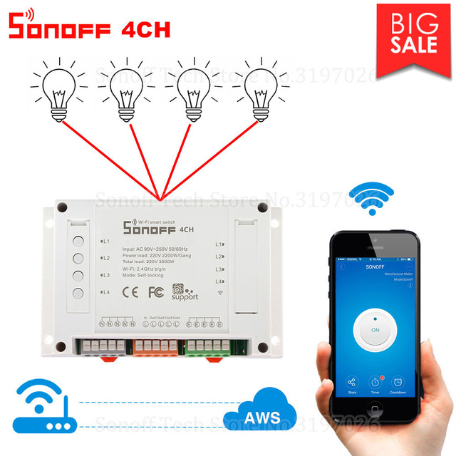 Itead Sonoff 4CH Wifi Smart Switch 4 Gang Wifi Light Switch Smart Home App Remote Interrupter Relay Works with Alexa Google Home