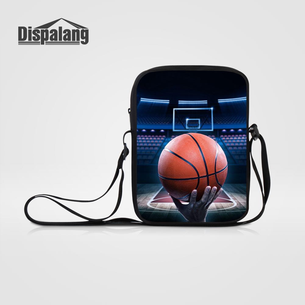 Dispalang Small Teens Kids Messenger Bags Basketballs Printing Mens Business Flap Mini Shoulder Crossbody Bag For School Satchel