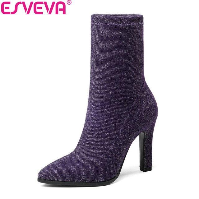 ESVEVA 2020 Kadın Botları Streç Kumaşlar Orta Buzağı Çizmeler Sonbahar Ayakkabı Bling Ince Yüksek Topuk Sivri Burun Bayan Botları Boyutu 34-43