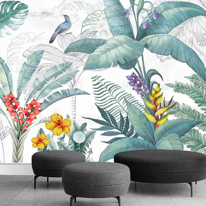 Custom Wall Mural Wallpaper Wall Covering 3D Birds And Flowers Background Wall Decoration Photo Wallpaper Murals Papel De Parede