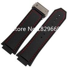 28 mm x 19 mm nuevos Mens de la alta calidad de goma negro reloj correa de la banda WIith hilo rojo negro hebilla del despliegue broche para marca