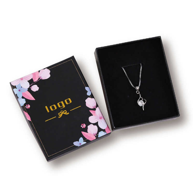 Cajas para anillo para bodas joyería papel negro cajas para regalo cajas para embalaje logotipo personalizado