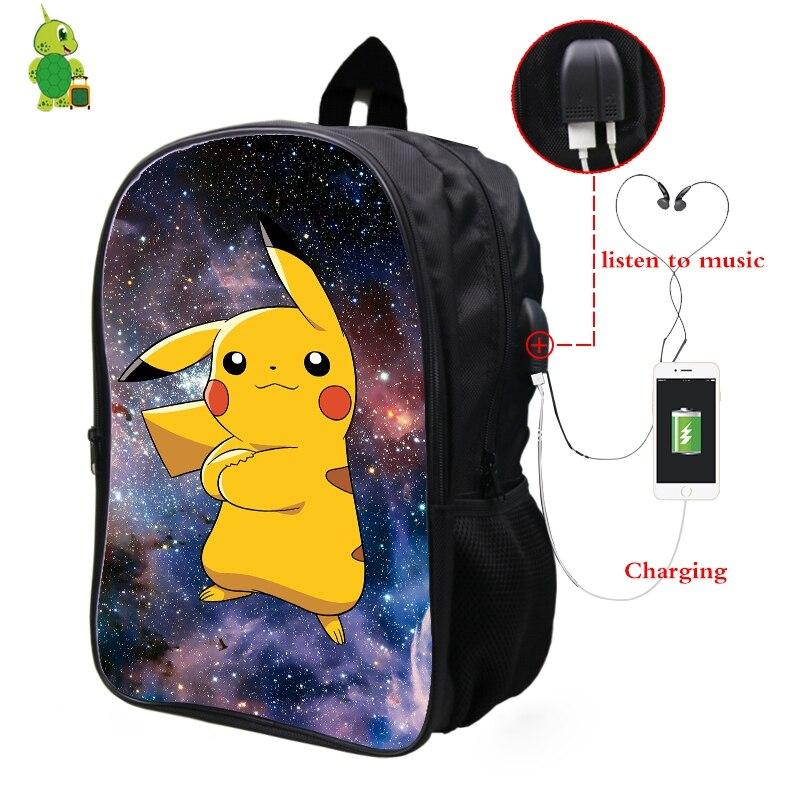 Pokemon Pikachu Galaxy Space Backpack Multifunction USB Charge Headphone Jack Laptop Backpack for Teens Men Women School Bags