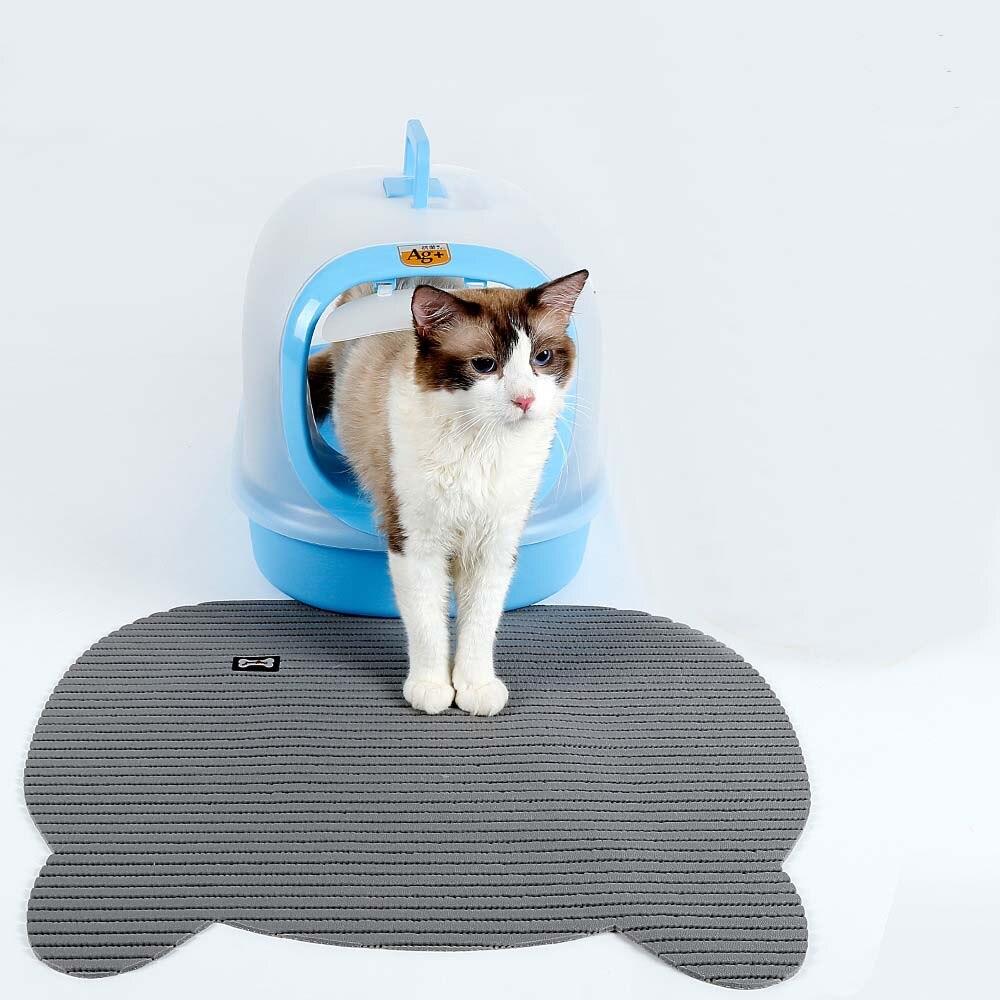 Freelove PVC Cat Litter Toilet Mat, Non Slip Litter Lock Mat Cat Litter Trapping Mat Traps Messes Easy Clean Durable Non Toxic