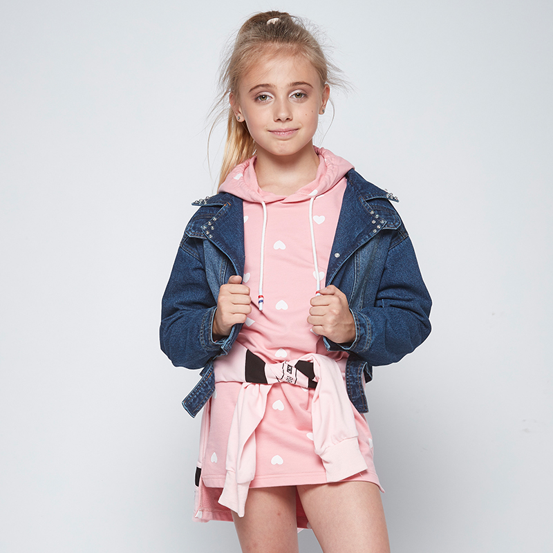 GLO-STORY Teenage Girls 2018 Denim Jackets with Knitted Hooded Dress Sets Kids Casual Streetwear Fashion Tracksuits GLT-7495 glo story teenage boys winter jackets children boy 2018 casual streetwear patchwork with tape zipper hoodie parkas coats