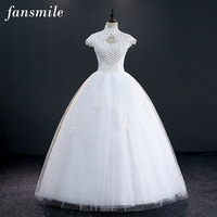 Fansmile Short Sleeve High Collar Lace Up Wedding Dresses 2017 Real Photo Vintage Plus Size Ball Gowns Under $50 Free Shipping
