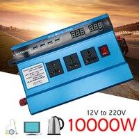 Напряжение трансформатор DC12/24 В к AC220V пик 10000 Вт автомобиль солнечной Мощность инвертор синусоида USB конвертер эффективность защиты