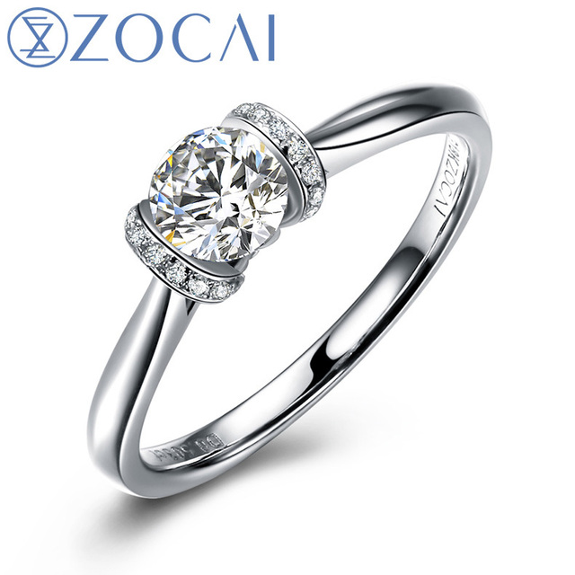 ZOCAI French Kiss On Champ Elysees 0.30 CT Certified D-E / SI  Round Cut Diamond Engagement Ring 18K White Gold (Au750)  W02731