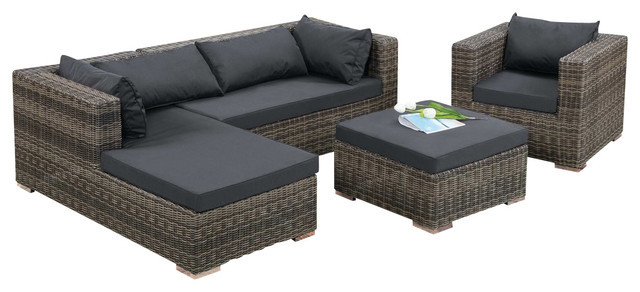 Modern Design Outdoor Wicker Patio Rattan Sofa Set In Garden Sofas