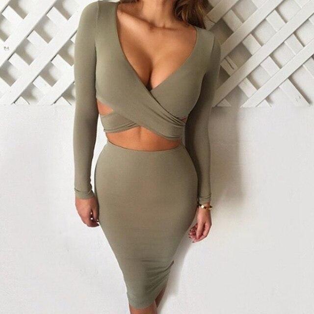 de00846f96 JUANBO 4 Colors Women Autumn Cut Out Midi Dresses Long Sleeve Deep V Neck  Black Bodycon