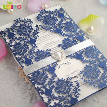 High quality free shipping navy blue 3d die cut wedding cards with insert paper and envelop