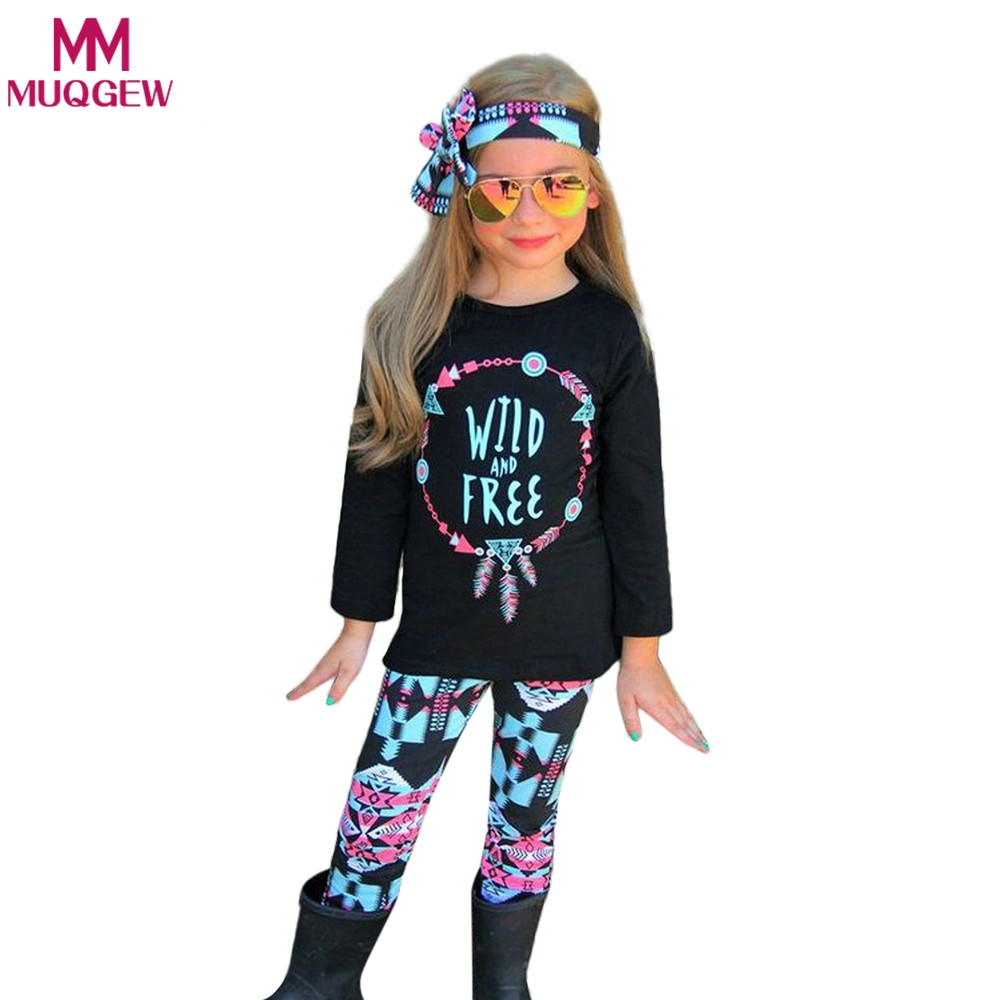 3PCS Toddler Kids Baby Girls Clothes T-shirt Tops+Florals Pants+Headband Letter Printed 2018 Casual Girl Clothing Outfits Set 3pcs outfit infantil girls clothes toddler baby girl plaid ruffled tops kids girls denim shorts cute headband summer outfits set