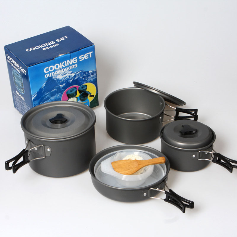 Portable Outdoor Cookware Aluminum Non-stick Pot Cooking Frying Pan Camping Picnic Hiking Utensils With Carry Bag Big Size Elegant In Style Campcookingsupplies Outdoor Tablewares