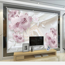 beibehang  papier peint  wallpaper for walls 3 d Custom wallpaper  Luxury diamond flowers 3d jewelry TV background wall murals