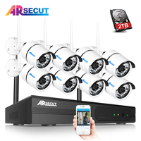ARSECUT Wireless CCTV System 960P 8CH WIFI NVR 1TB HDD Outdoor Waterproof Wifi Security Camera System