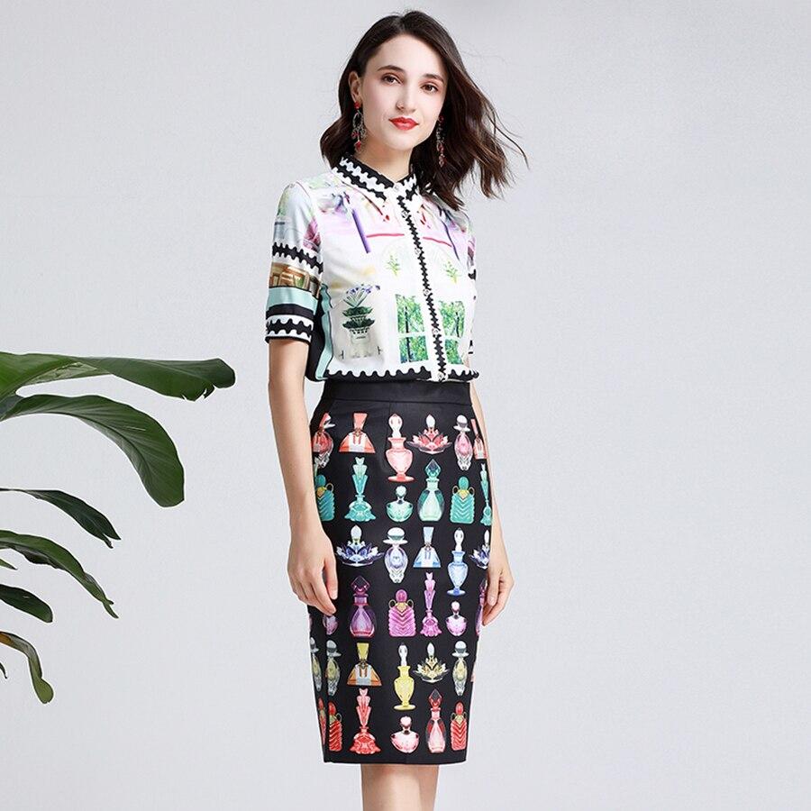 Bureau dame robes 2019 été mode imprimé Blouse Top + Slim crayon genou-longueur gland parfum imprimé jupe costume femmes